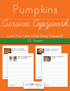 Pumpkins Fun Facts Cursive Copywork