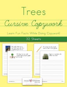Trees Fun Facts Cursive Copywork