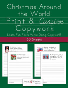 Christmas Around the World Copywork - Print and Cursive