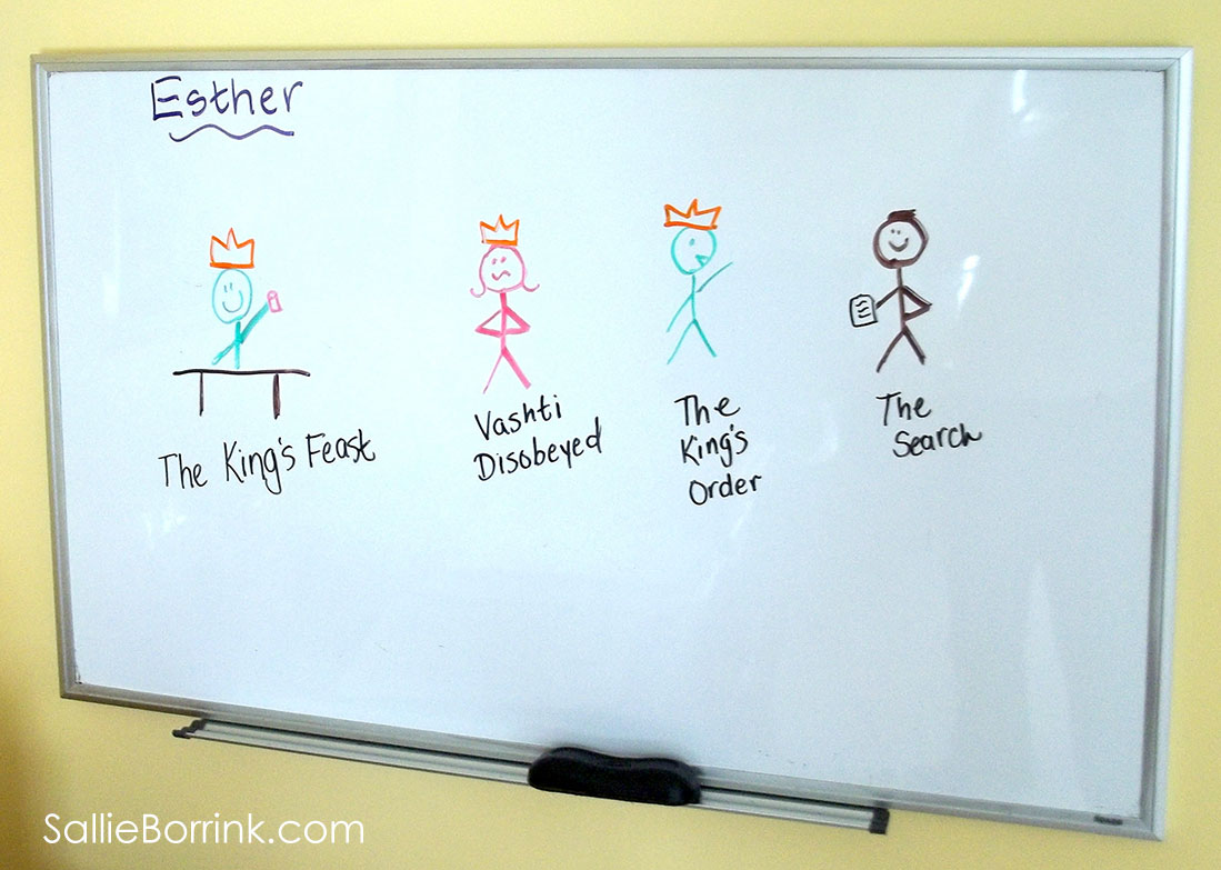 Esther characters on white board