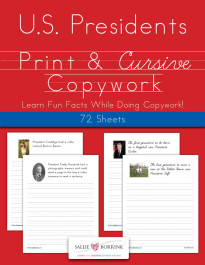 Presidents Fun Facts Copywork