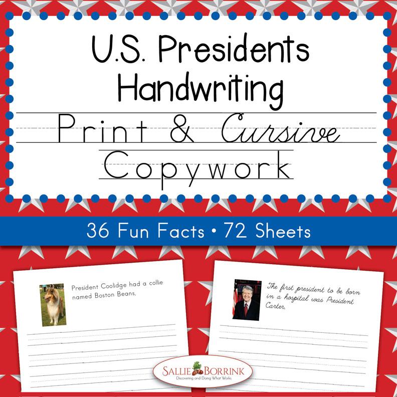 U.S. Presidents Copywork – Print and Cursive