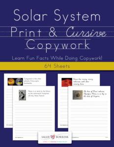Solar System Copywork – Print and Cursive