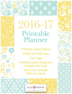 Printable Planner - 2016-2017 Academic Year - Aqua and Yellow