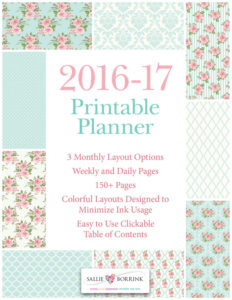 Printable Planner - 2016-17 Academic Year - Pink Roses