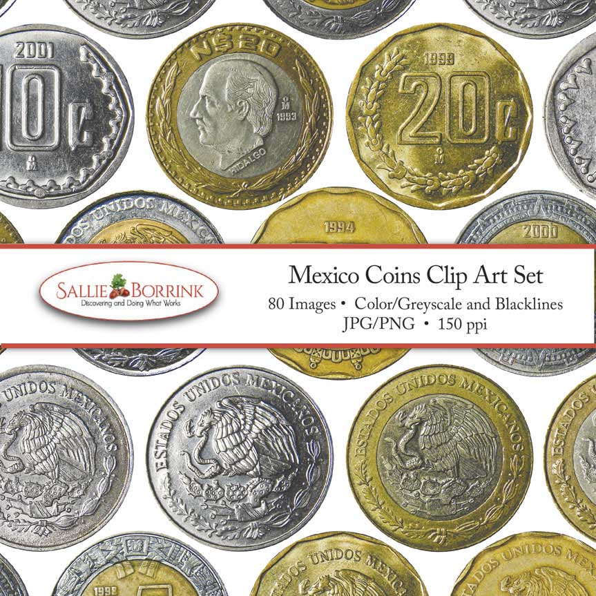Mexico Coins Clip Art Set