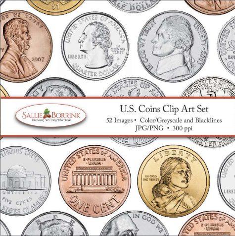 US Coins Clip Art Set 041017