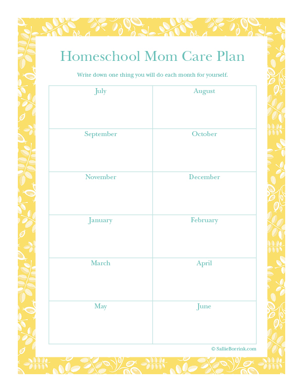Homeschool Mom Care Plan - Aqua and Yellow