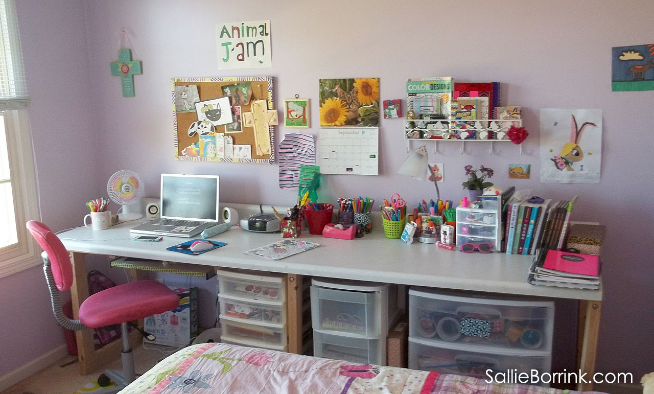 Long desk or craft table made with countertop
