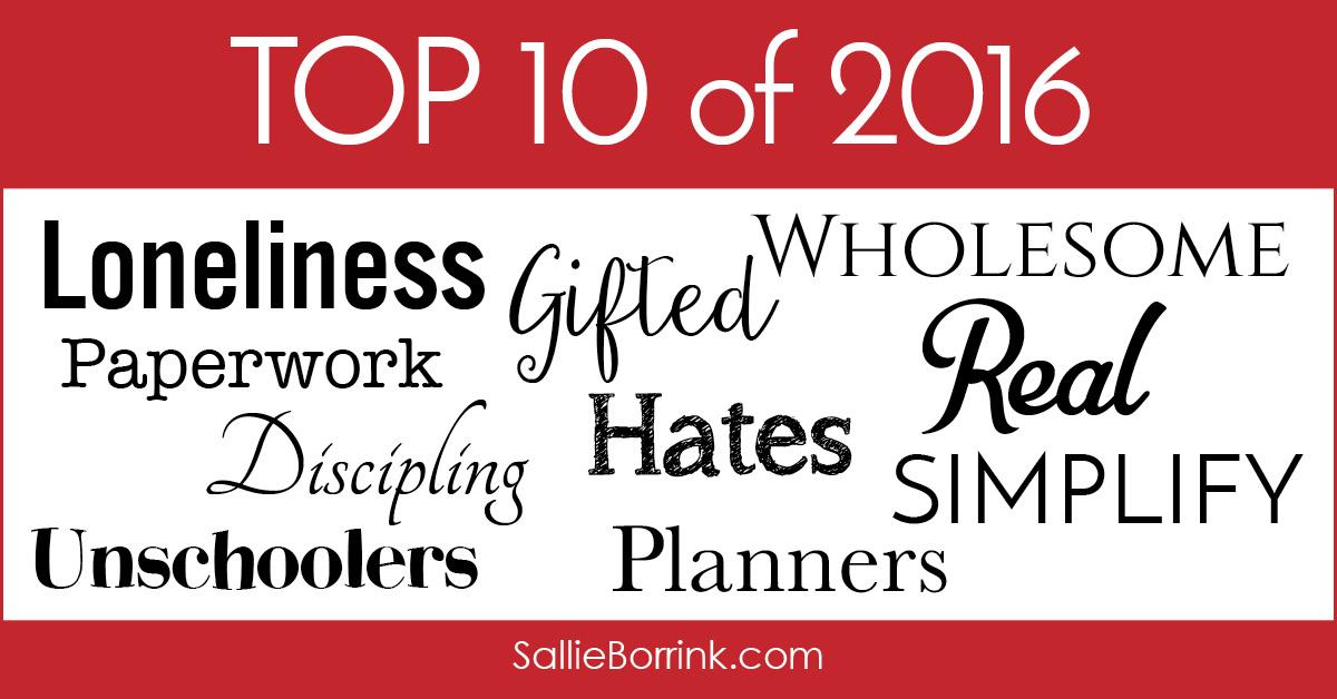 Top 10 Posts of 2016 -Sallie Borrink