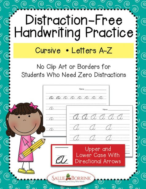 Distraction Free Cursive Handwriting with arrows