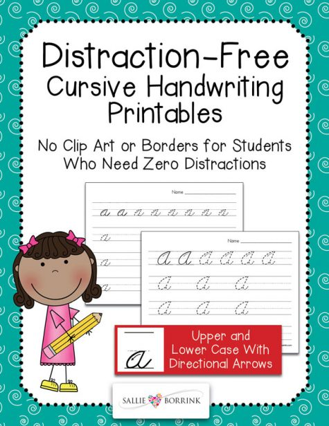 Distraction-Free Cursive Handwriting Printables with Arrows