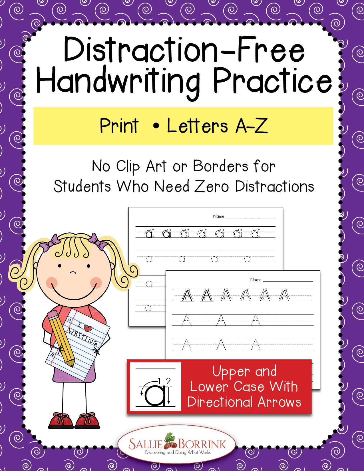 Distraction-Free Print Handwriting Practice – Upper and Lower Case with Arrows