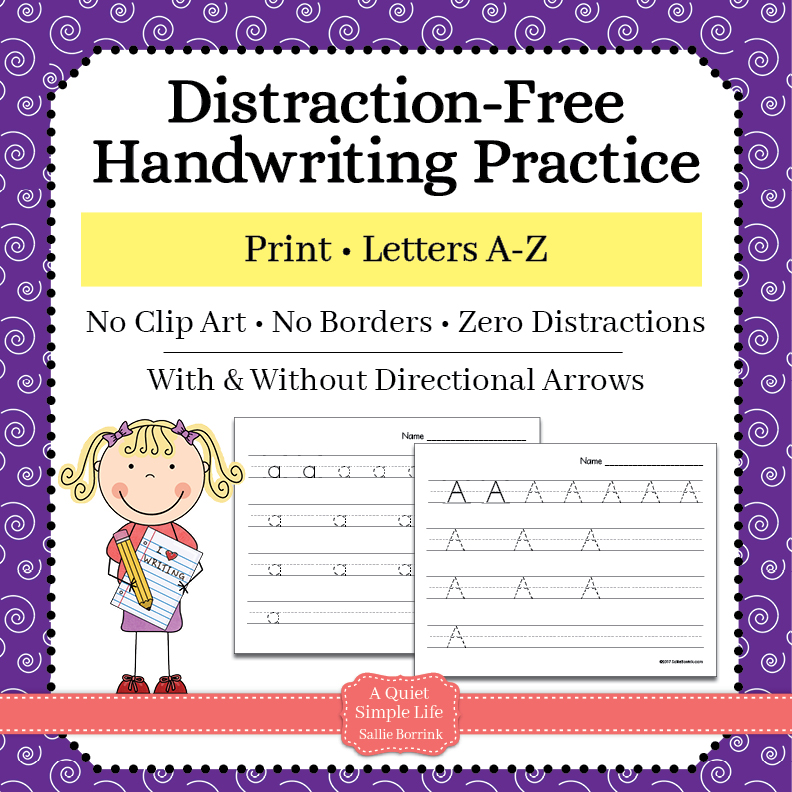 Distraction-Free Print Handwriting Practice – Upper and Lower Case without Arrows