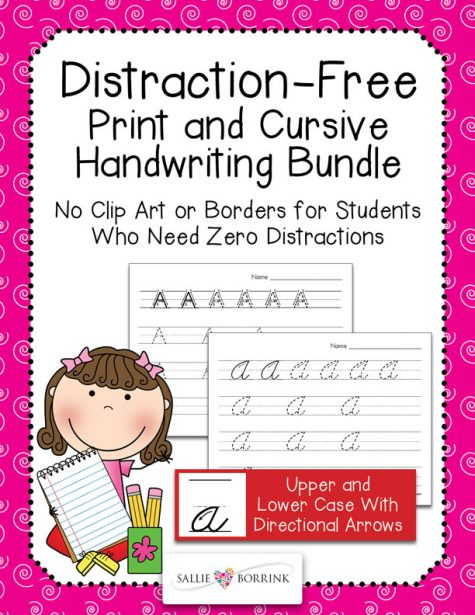 Distraction-Free Print and Cursive Handwriting Bundle with arrows