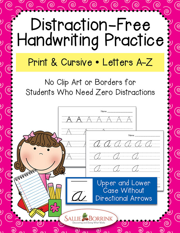 Distraction Free Print and Cursive Handwriting Bundle witDistraction Free Print and Cursive Handwriting Bundle without Arrowshout arrows
