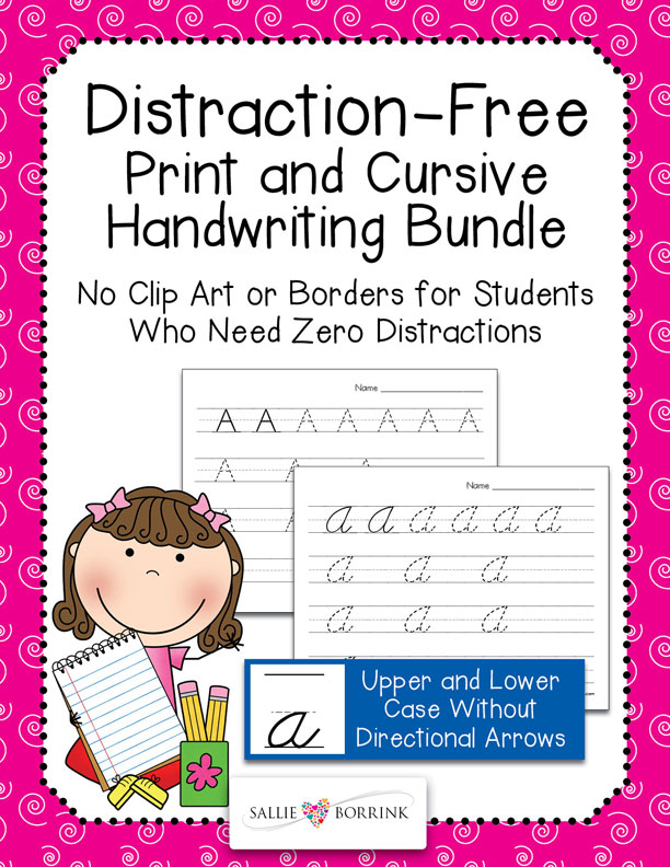 Distraction Free Print & Cursive Handwriting Practice Bundle without Arrows
