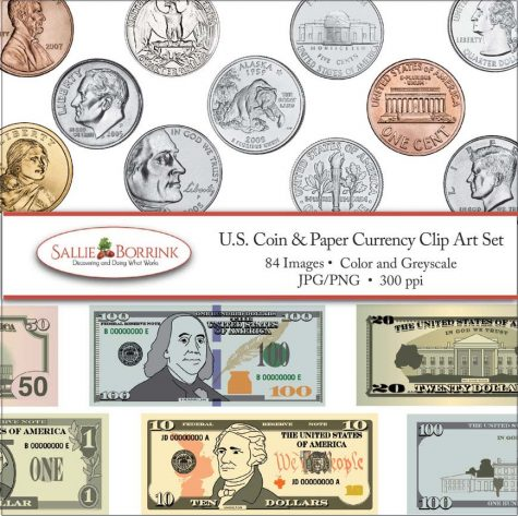 US Coins and Paper Currency Clip Art Set