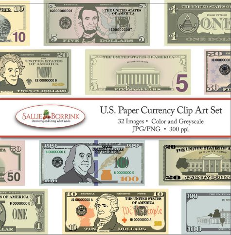US Paper Currency Clip Art Set