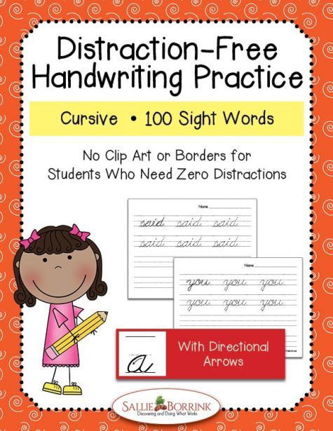 Distraction-Free Cursive Handwriting Practice – 100 Sight Words with Arrows