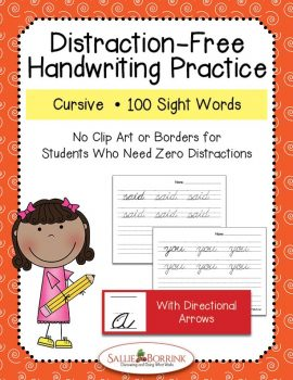 Distraction-Free Cursive Handwriting Sight Words with arrows