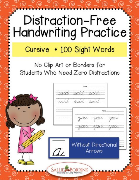 Distraction-Free Cursive Handwriting Sight Words without arrows