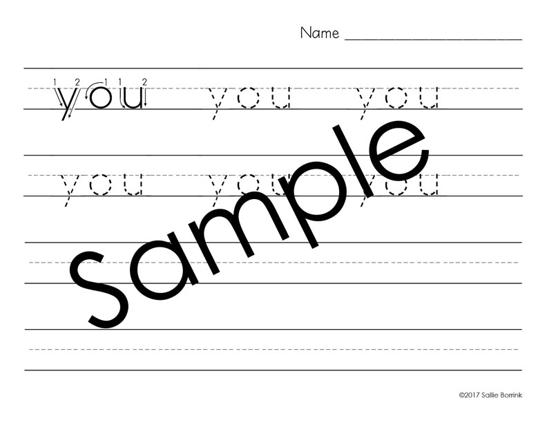 Distraction Free Print Handwriting 100 Sight Words with arrows 3