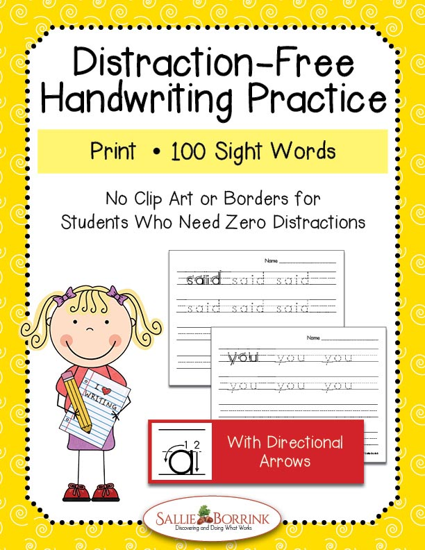 Distraction-Free Print Handwriting Practice - 100 Sight Words with Arrows