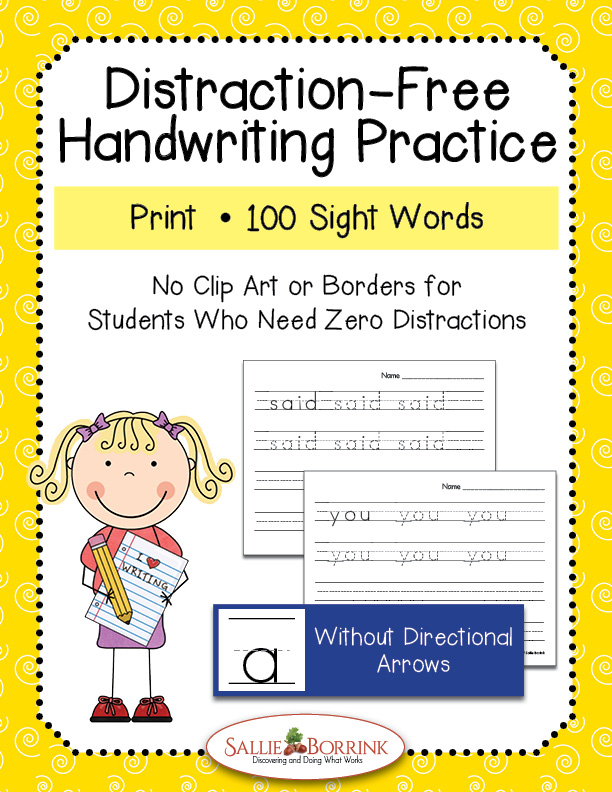 Distraction-Free Print Handwriting Practice – 100 Sight Words without Arrows