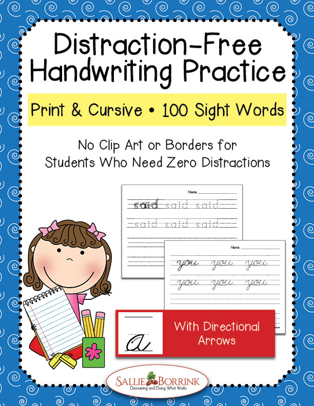 Distraction-Free Print and Cursive Handwriting Practice Bundle - 100 Sight Words with Arrows