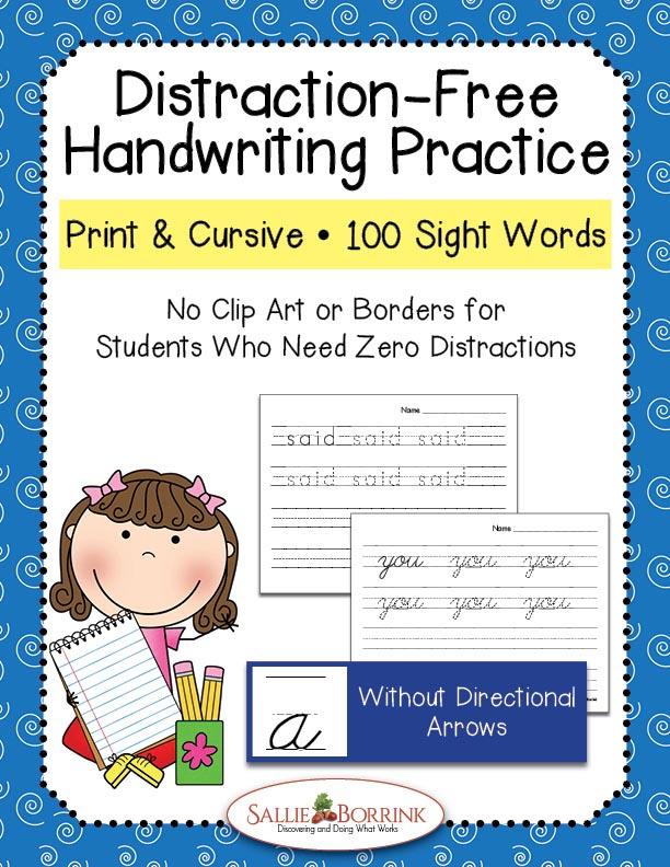 Distraction-Free Print and Cursive Handwriting Practice – 100 Sight Words without Arrows