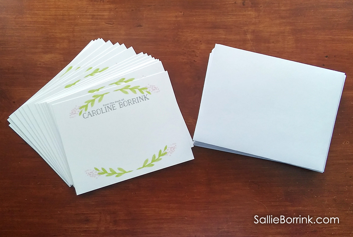 Personalized notecards and envelopes