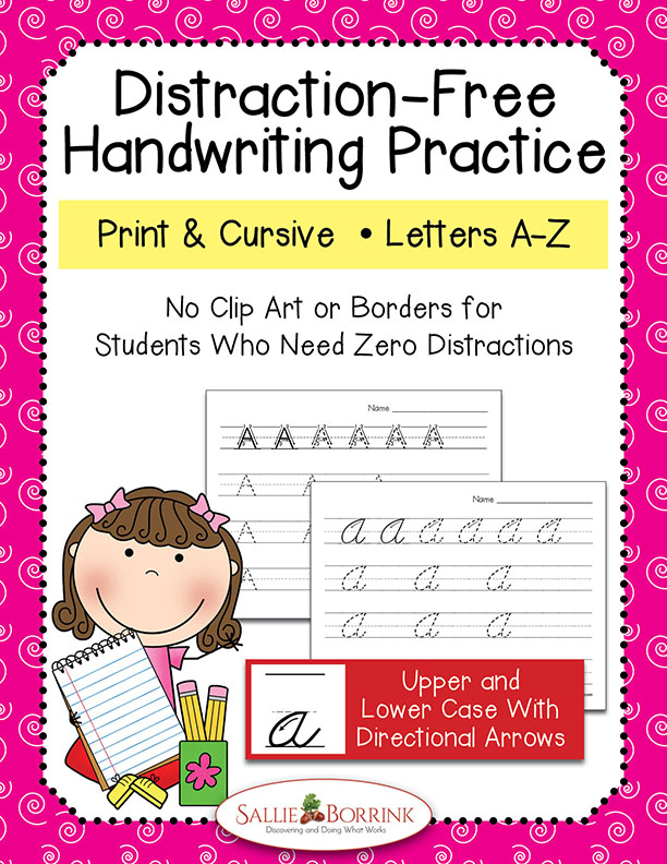 Distraction Free Print and Cursive Handwriting Bundle with arrows