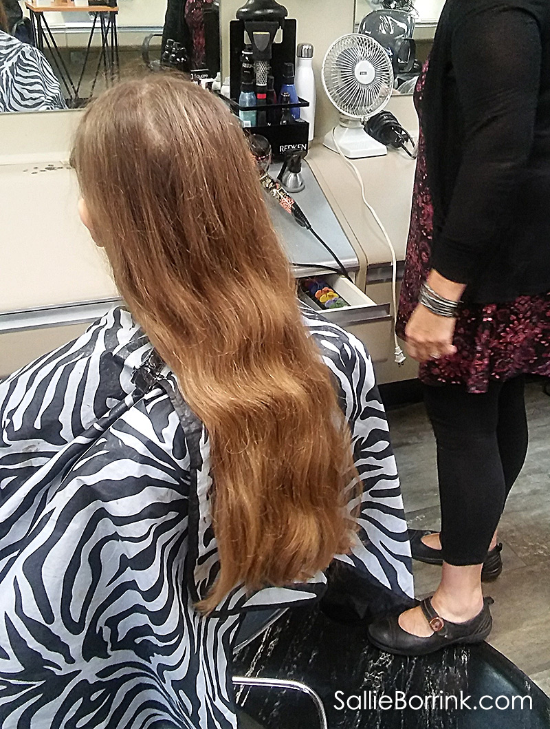 Caroline's Long Hair Before Cutting for Donating to Cancer Patients