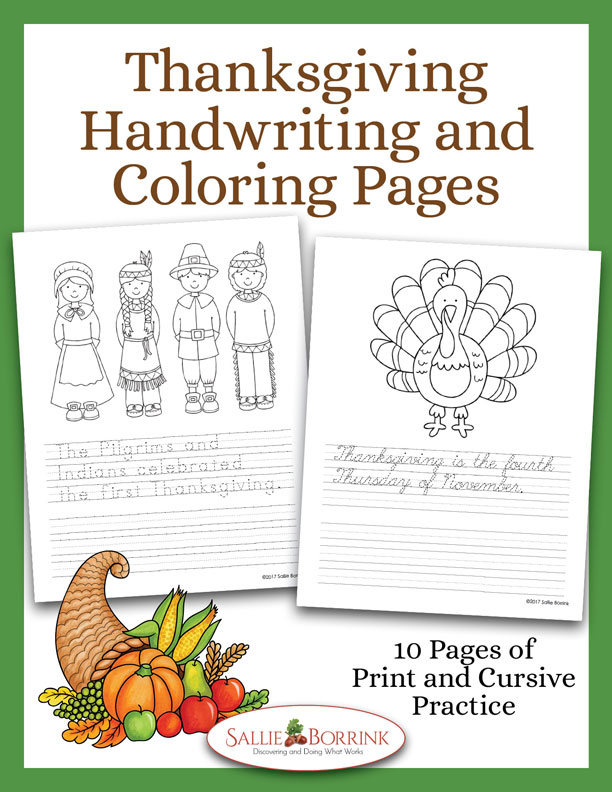 Thanksgiving Handwriting and Coloring Pages