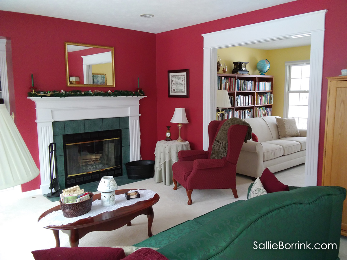 Family Room with fireplace and red walls 2