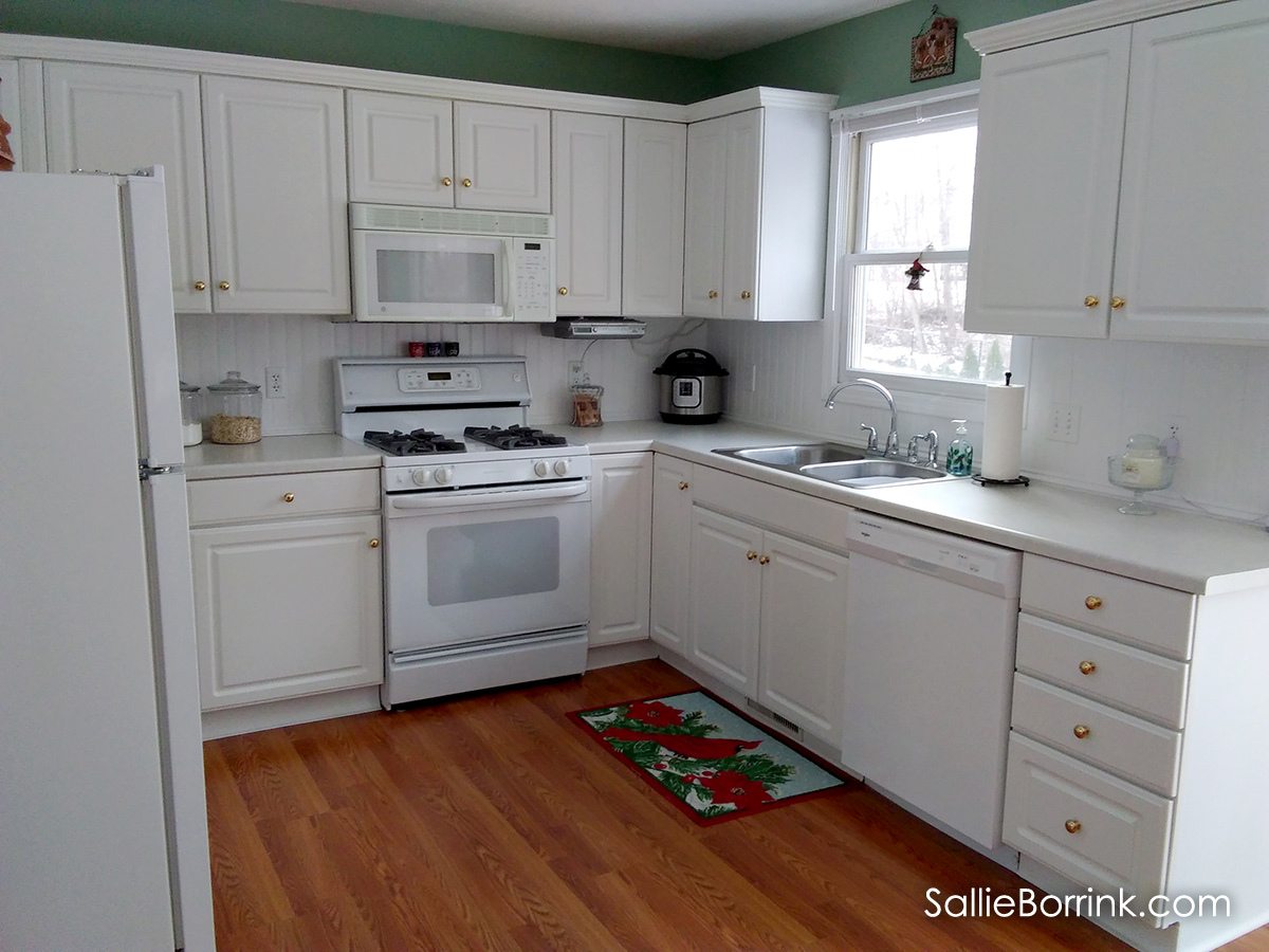 White kitchen with beadboard backsplash