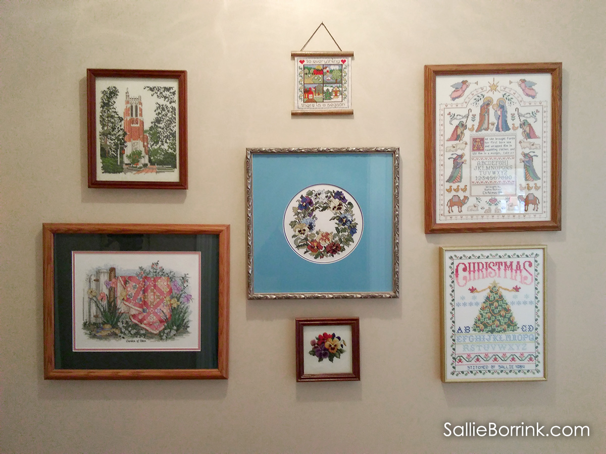 Cross stitch picture wall
