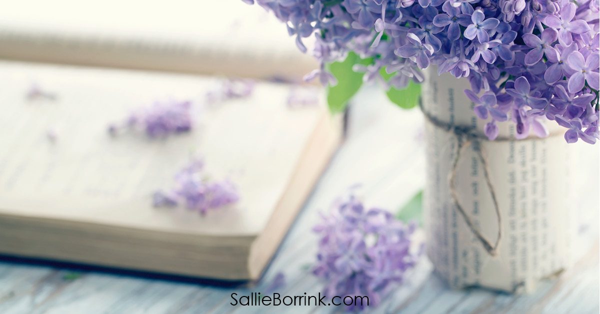 Bouquet of Purple Lilac Flowers with Open Book Cozy Living In America