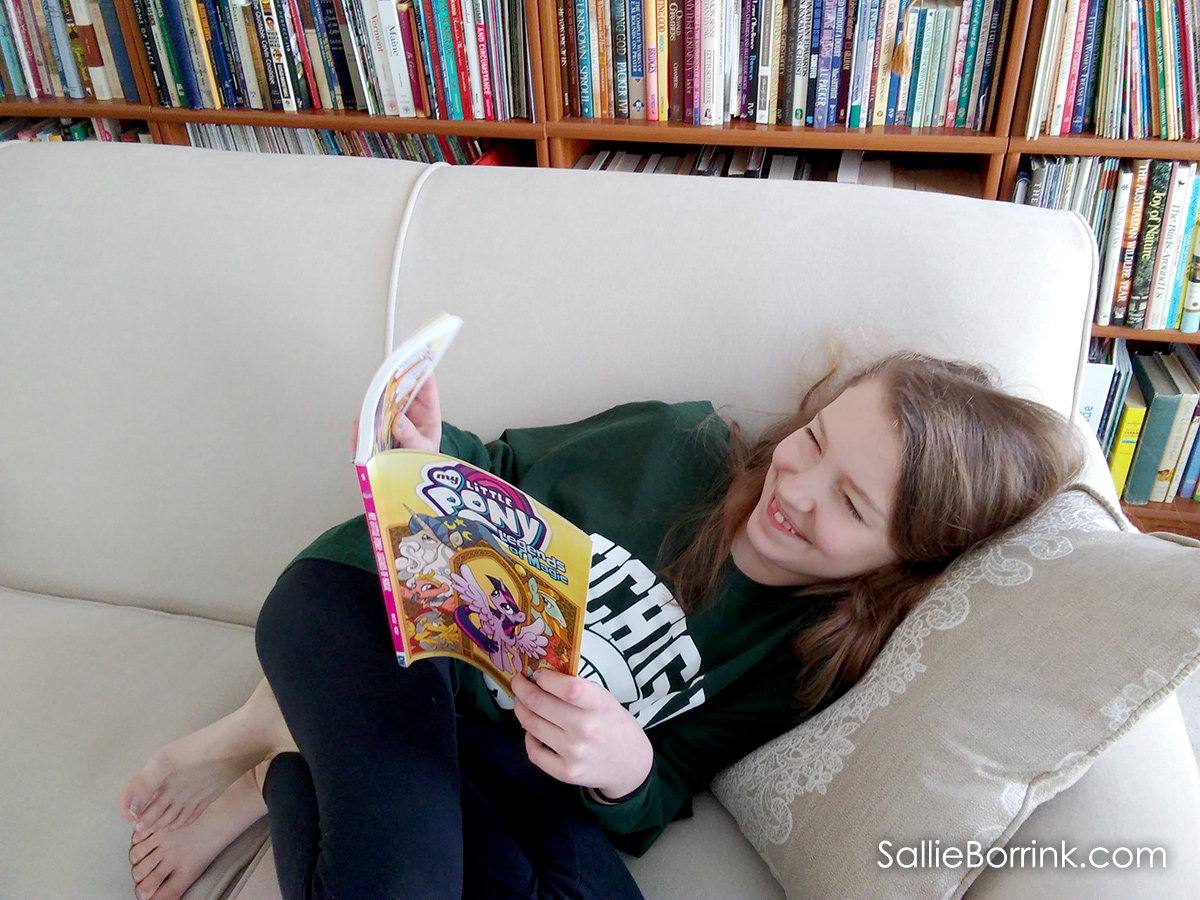 Caroline Reading My Little Pony 2