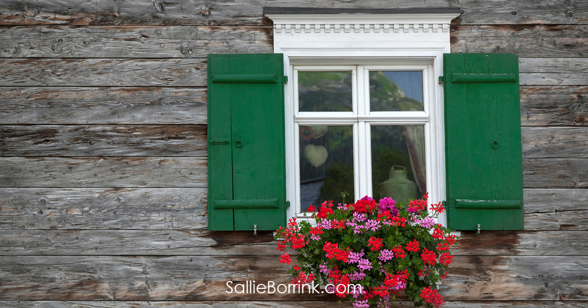 Old Wooden Window with Flower Box - Encouraging a Homeschool Mom