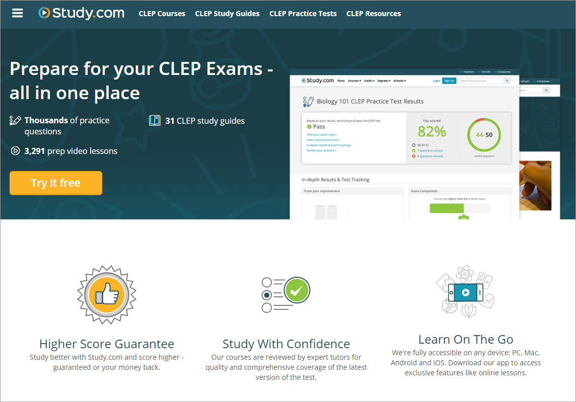 Study.com's CLEP product homepage