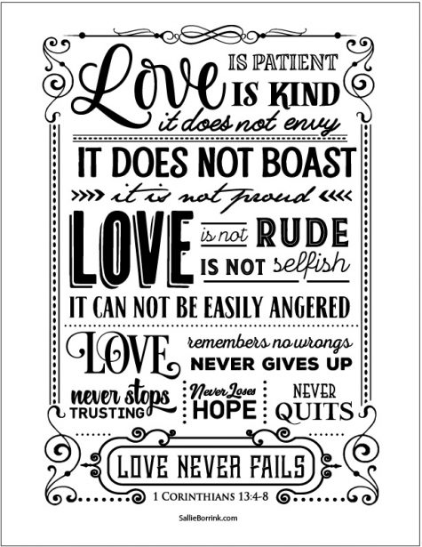 Love Is 1 Corinthians 13 Artwork (black version)
