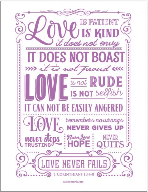 Love Is 1 Corinthians 13 printable (purple version)