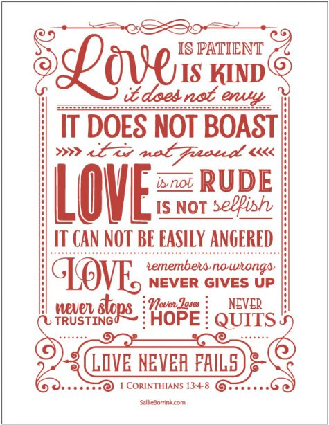 Love Is 1 Corinthians 13 printable (red version)