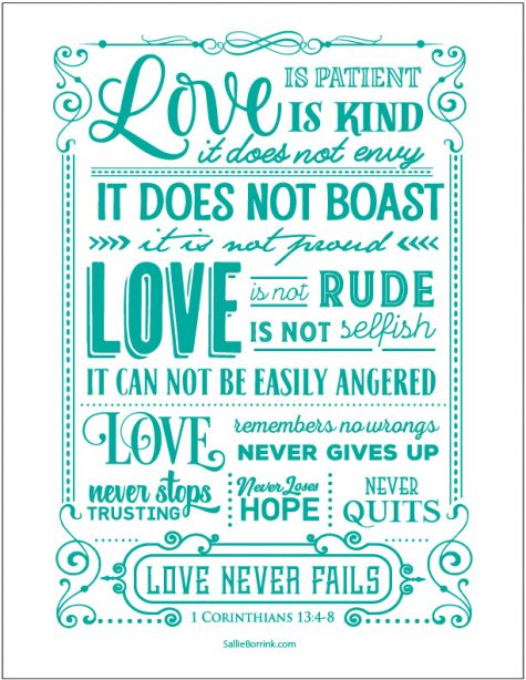 Love Is 1 Corinthians 13 printable (teal version)