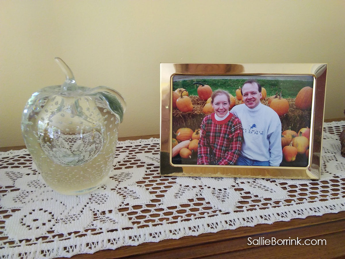 Glass apple and fall picture in our cozy home
