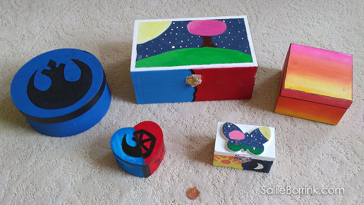 Wooden Boxes Painted with Acrylics