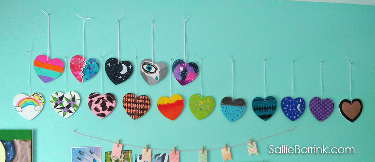 Wooden Hearts Painted with Acrylics