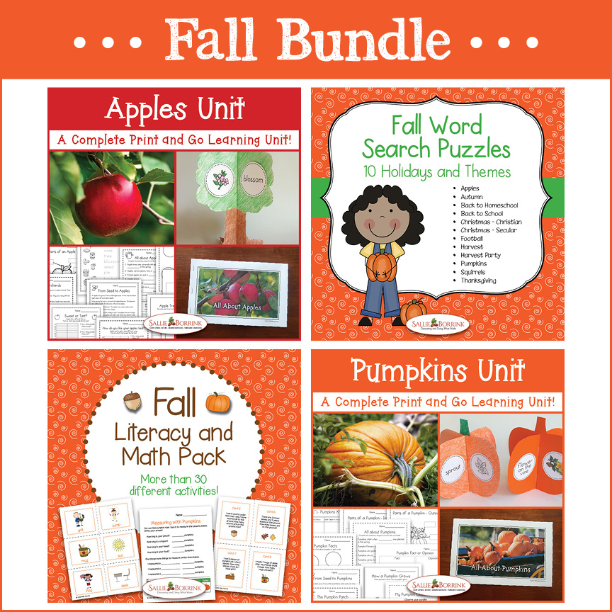 Fall Ultimate Bundle - Apple Unit, Pumpkin Unit, Fall Literacy and Math Pack, & Fall Word Searches